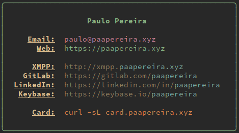 curl-based business card